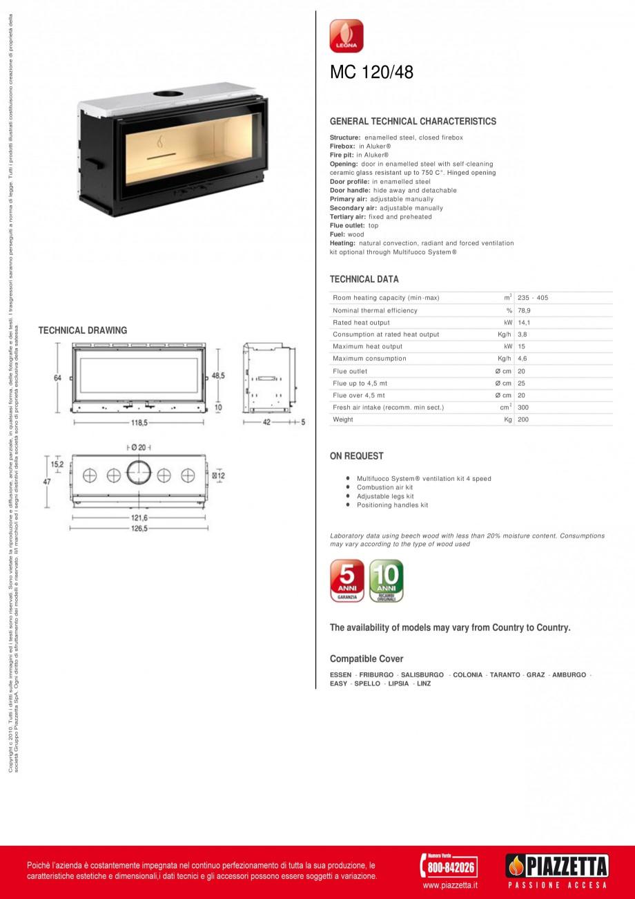 Pagina 1 - Focar  Piazzetta ME 120 48 Fisa tehnica Engleza MC 120/48 GENERAL TECHNICAL...