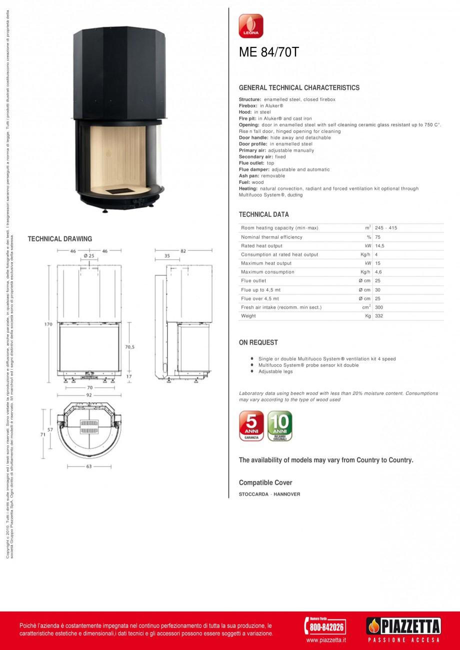 Pagina 1 - Focar  Piazzetta ME 84 70 T Fisa tehnica Engleza ME 84/70T GENERAL TECHNICAL...