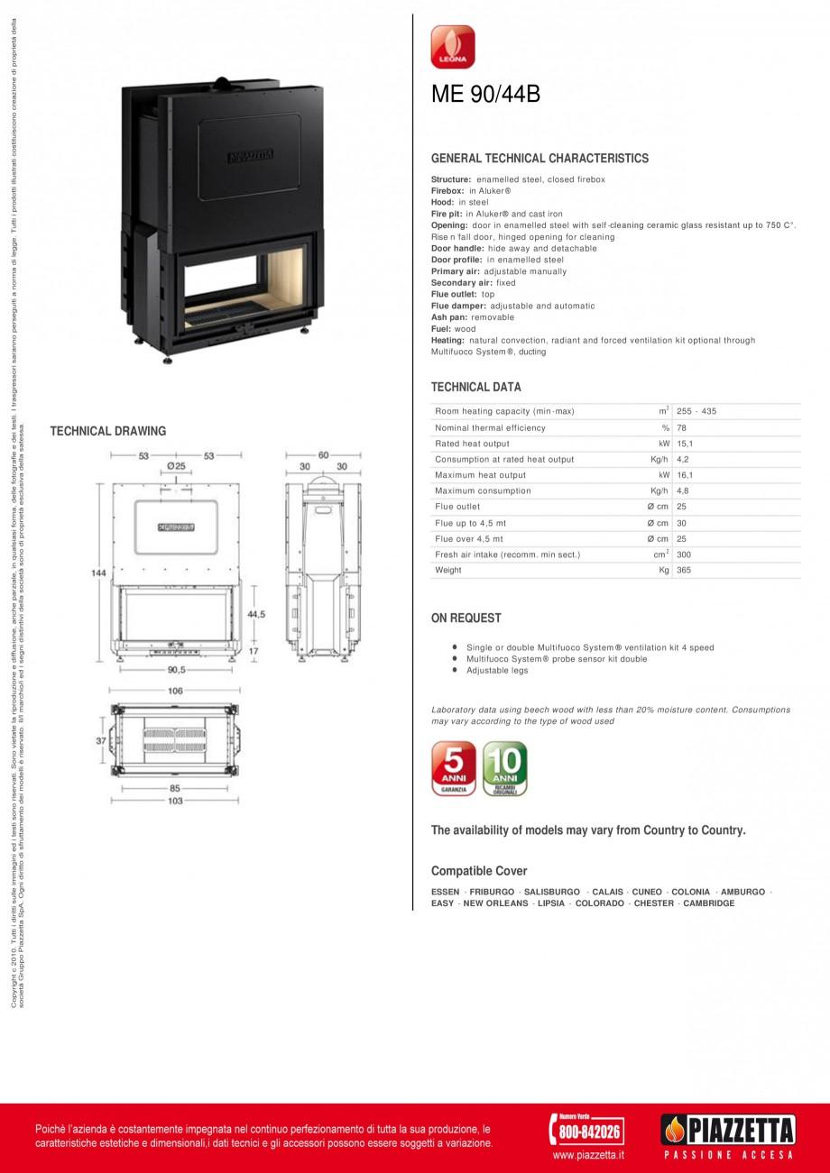 Pagina 1 - Focar Piazzetta ME 90 44 B Fisa tehnica Engleza ME 90/44B GENERAL TECHNICAL...