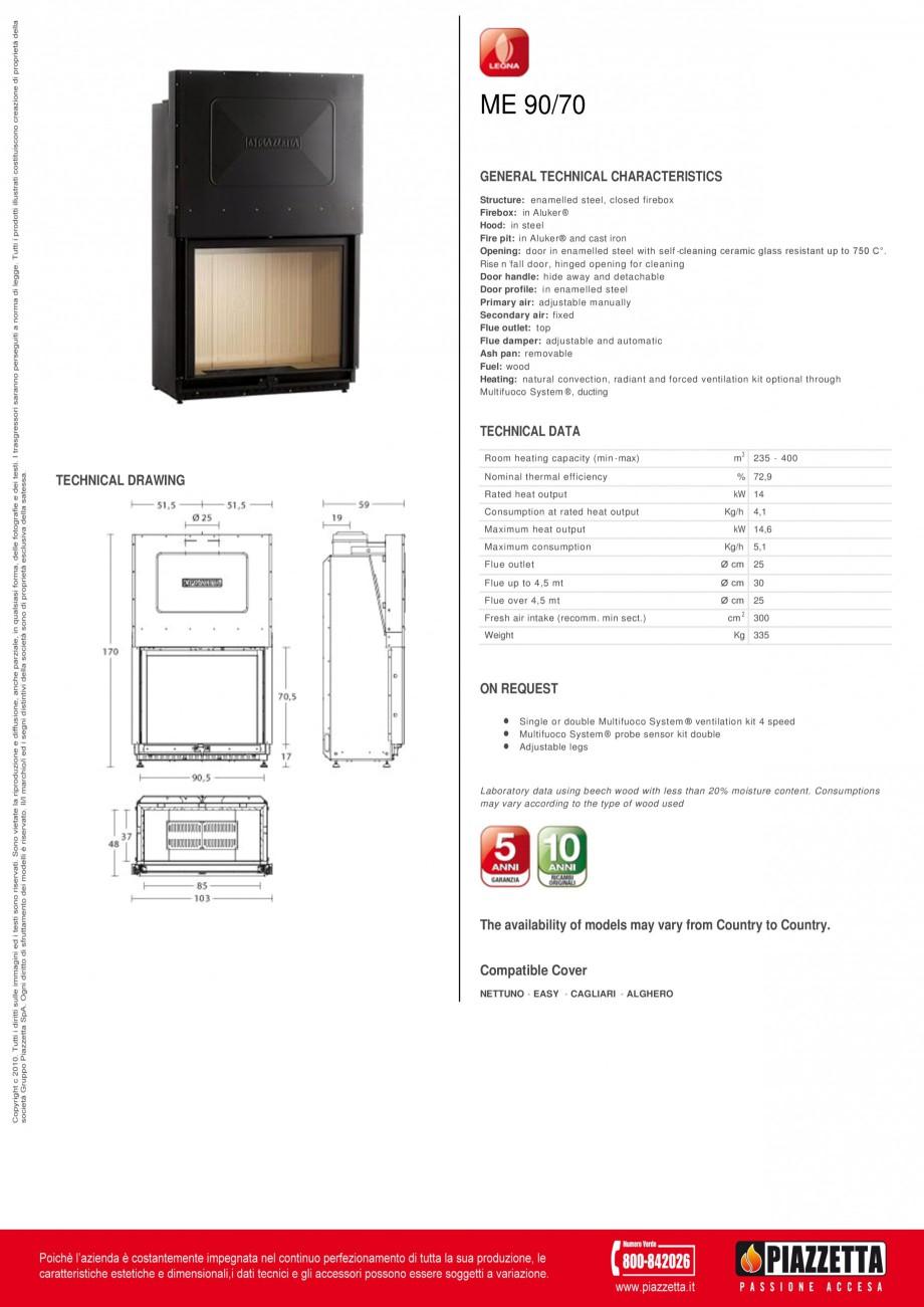 Pagina 1 - Focar Piazzetta ME 90 70 Fisa tehnica Engleza ME 90/70 GENERAL TECHNICAL CHARACTERISTICS ...