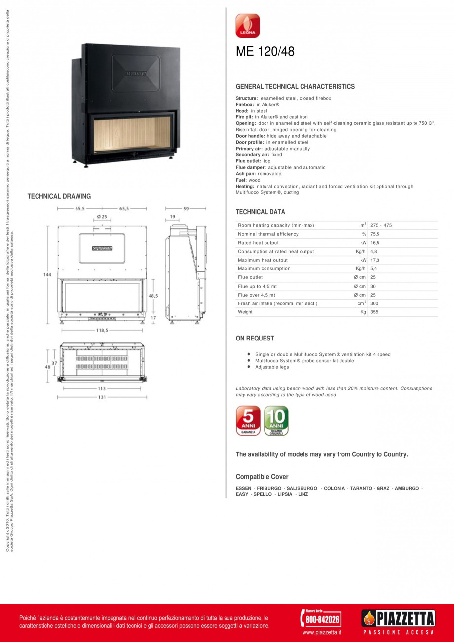 Pagina 1 - Focar  Piazzetta ME 120 48 Fisa tehnica Engleza ME 120/48 GENERAL TECHNICAL...