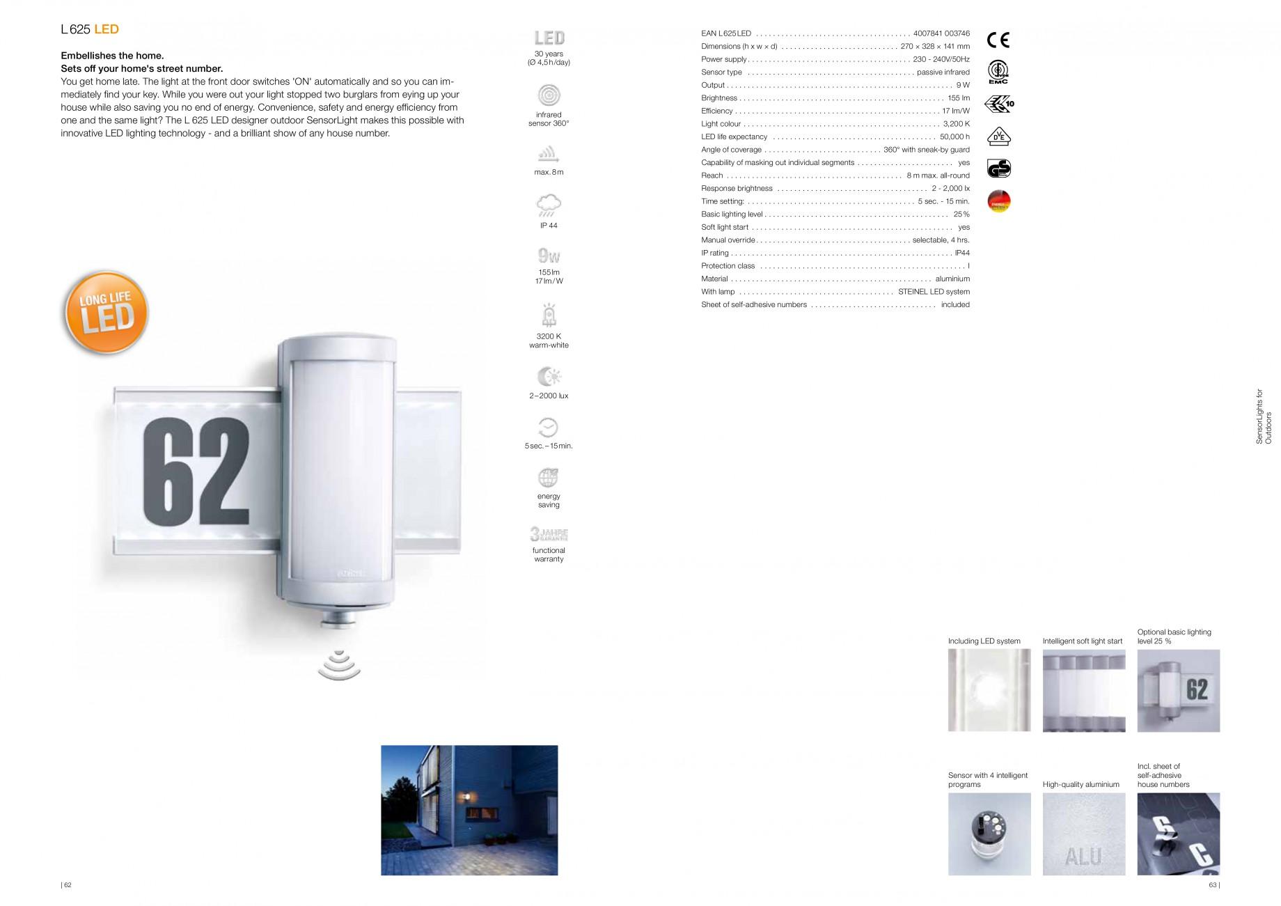 fisa tehnica lampa de exterior cu led si senzor miscare l 625 led steinel aplice si plafoniere. Black Bedroom Furniture Sets. Home Design Ideas