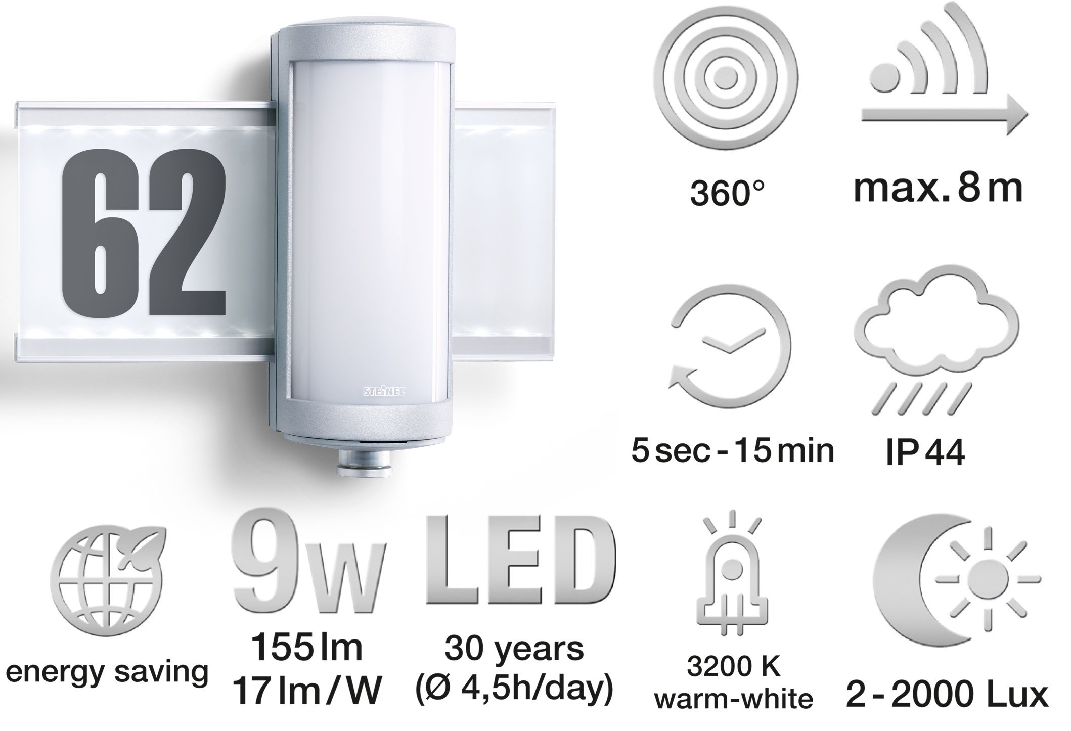 prezentare produs lampa de exterior cu led si senzor miscare steinel poza 19. Black Bedroom Furniture Sets. Home Design Ideas