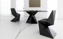 Mobilier dinning Vondom este o masa cu un design unic si cool si un aspect futurist. Materialul care este folosit pentru a face acest mobilier contemporan este 100% reciclabil.