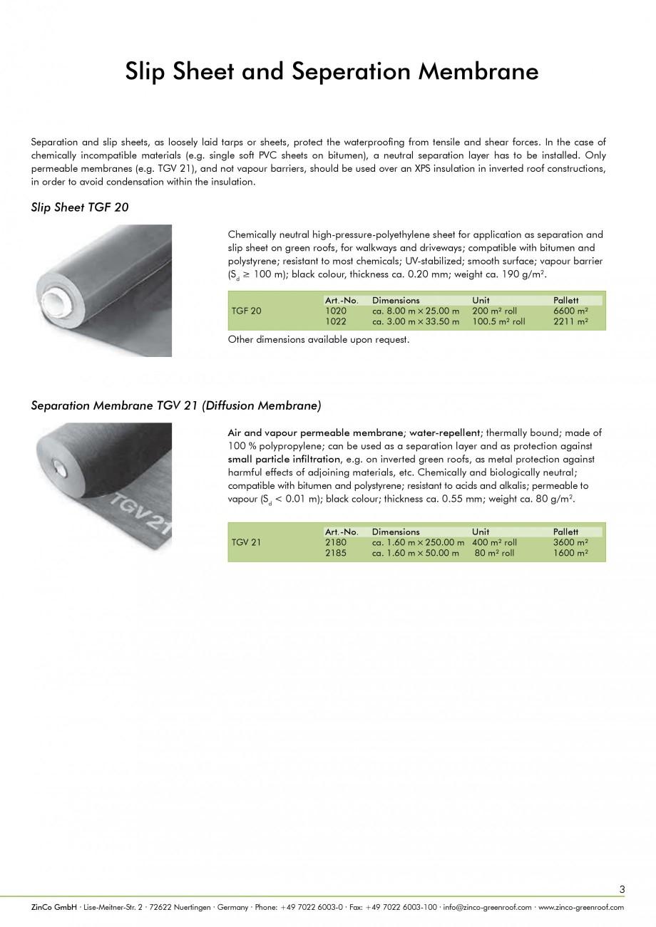 Slip Sheet Membrane : Catalog brosura acoperisuri verzi zincoⒸ