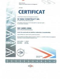 Certificat ISO 14001:2004 - Lucrari de constructii ale cladirilor rezidentiale si nerezidentiale