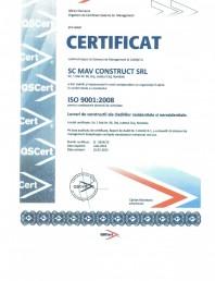 Certificat ISO 9001:2008 - Lucrari de constructii ale cladirilor rezidentiale si nerezidentiale