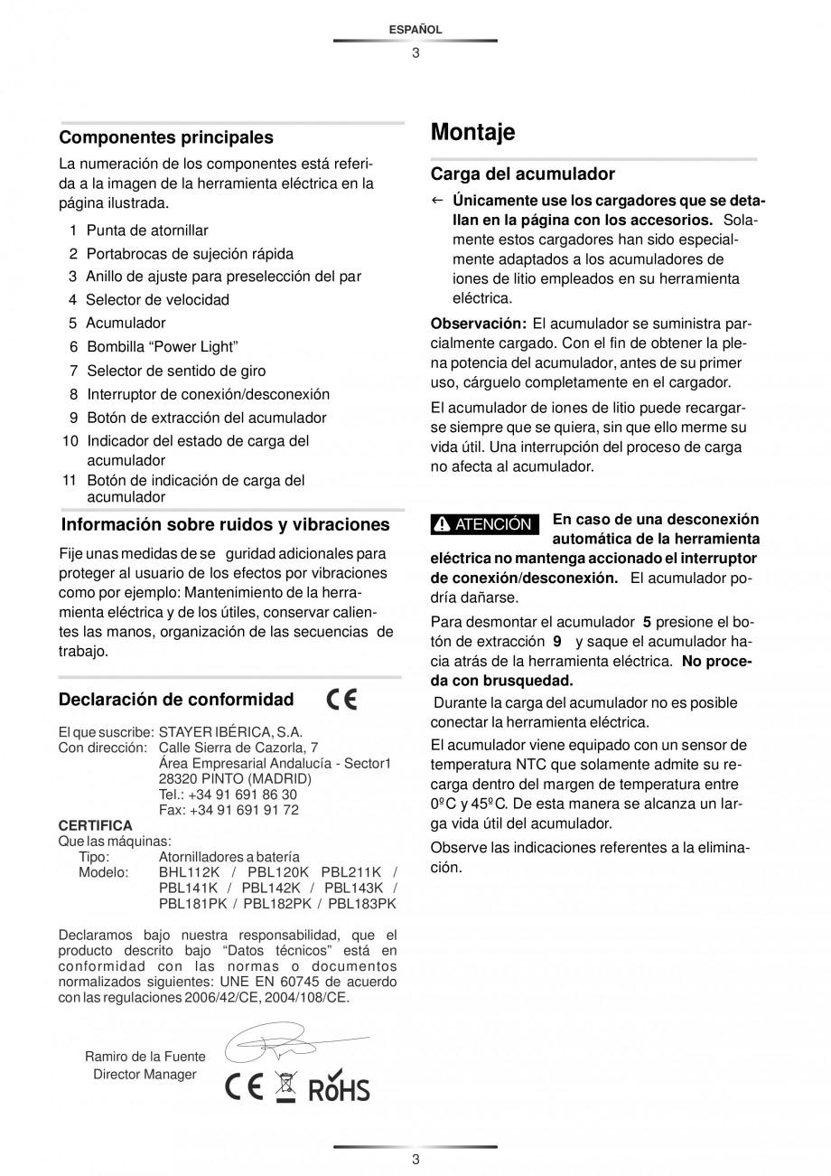 Pagina 6 - Masina de gaurit si insurubat cu acumulator 12 V 1.3 Ah STAYER BHL 112 K Instructiuni...