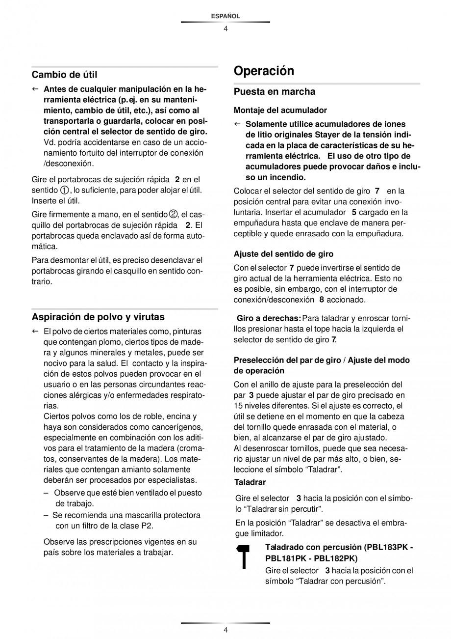 Pagina 7 - Masina de gaurit si insurubat cu acumulator 12 V 1.3 Ah STAYER BHL 112 K Instructiuni...