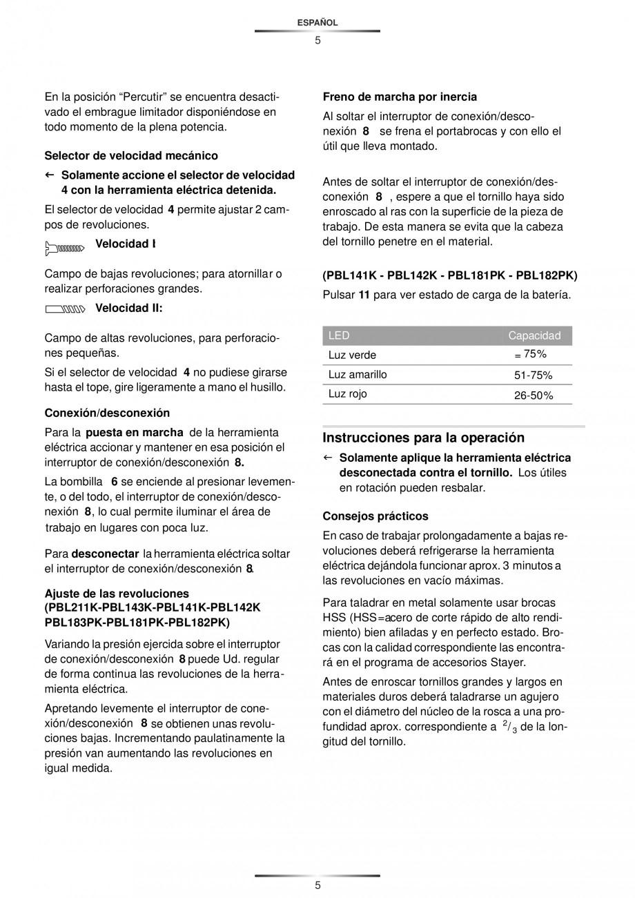 Pagina 8 - Masina de gaurit si insurubat cu acumulator 12 V 1.3 Ah STAYER BHL 112 K Instructiuni...