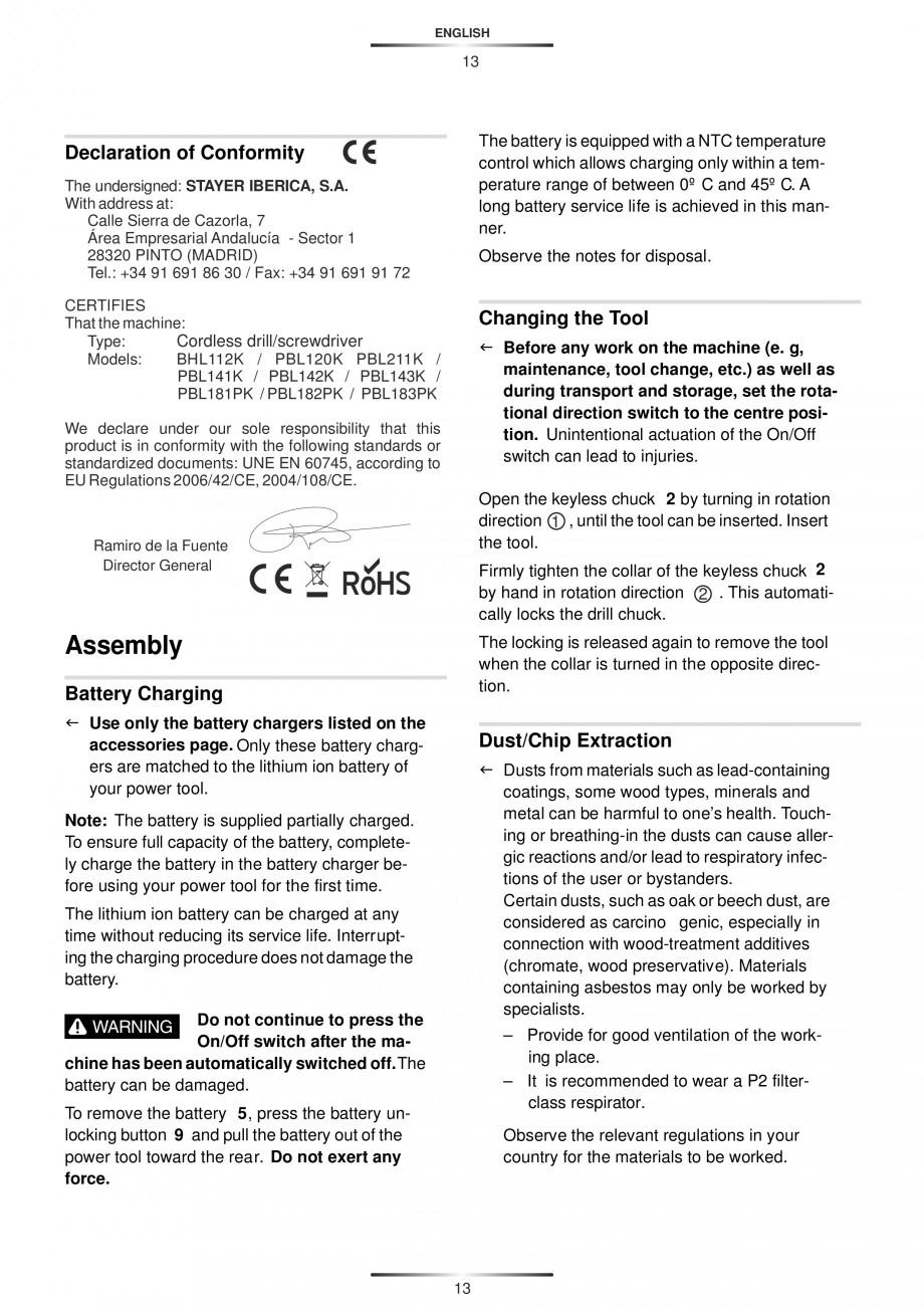 Pagina 16 - Masina de gaurit si insurubat cu acumulator 12 V 1.3 Ah STAYER BHL 112 K Instructiuni...