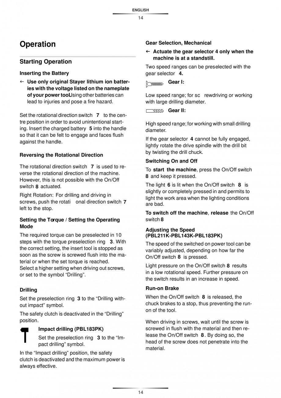 Pagina 17 - Masina de gaurit si insurubat cu acumulator 12 V 1.3 Ah STAYER BHL 112 K Instructiuni...