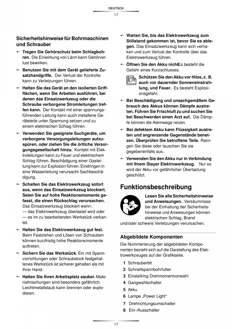 Pagina 20 - Masina de gaurit si insurubat cu acumulator 12 V 1.3 Ah STAYER BHL 112 K Instructiuni...