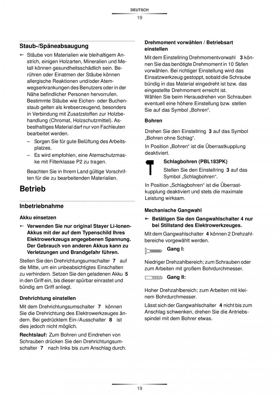 Pagina 21 - Masina de gaurit si insurubat cu acumulator 12 V 1.3 Ah STAYER BHL 112 K Instructiuni...