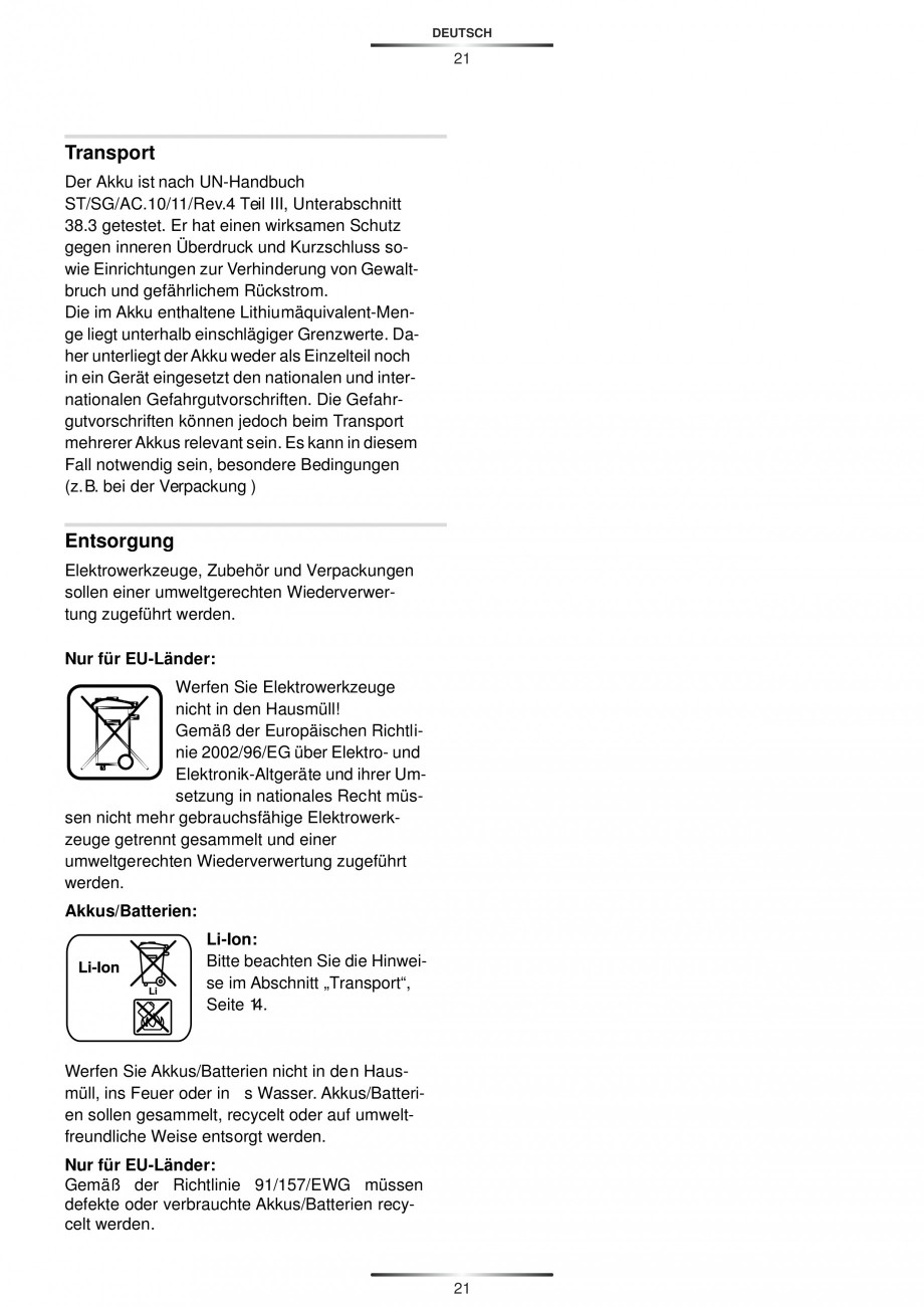 Pagina 23 - Masina de gaurit si insurubat cu acumulator 12 V 1.3 Ah STAYER BHL 112 K Instructiuni...