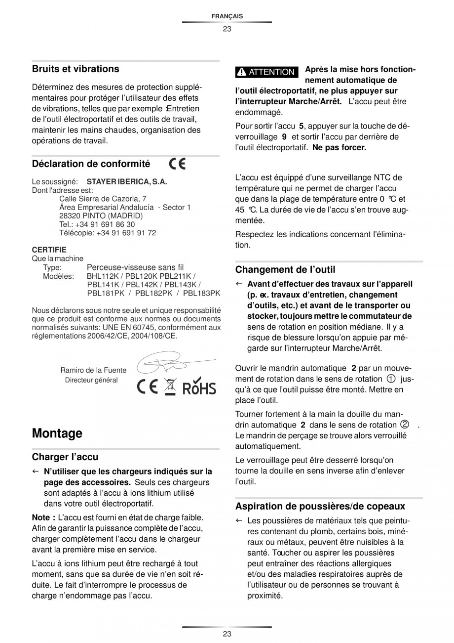 Pagina 25 - Masina de gaurit si insurubat cu acumulator 12 V 1.3 Ah STAYER BHL 112 K Instructiuni...