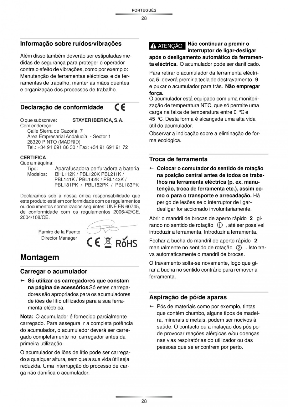 Pagina 30 - Masina de gaurit si insurubat cu acumulator 12 V 1.3 Ah STAYER BHL 112 K Instructiuni...