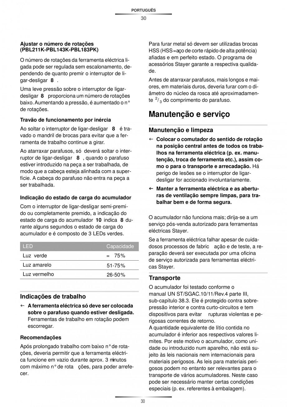 Pagina 32 - Masina de gaurit si insurubat cu acumulator 12 V 1.3 Ah STAYER BHL 112 K Instructiuni...