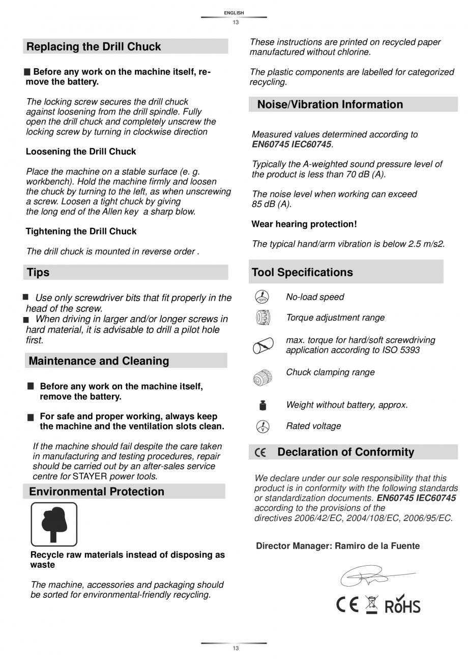 Pagina 15 - Masina de gaurit si insurubat cu acumulator NiCd 12V 1.7Ah STAYER BH 12 K Instructiuni...