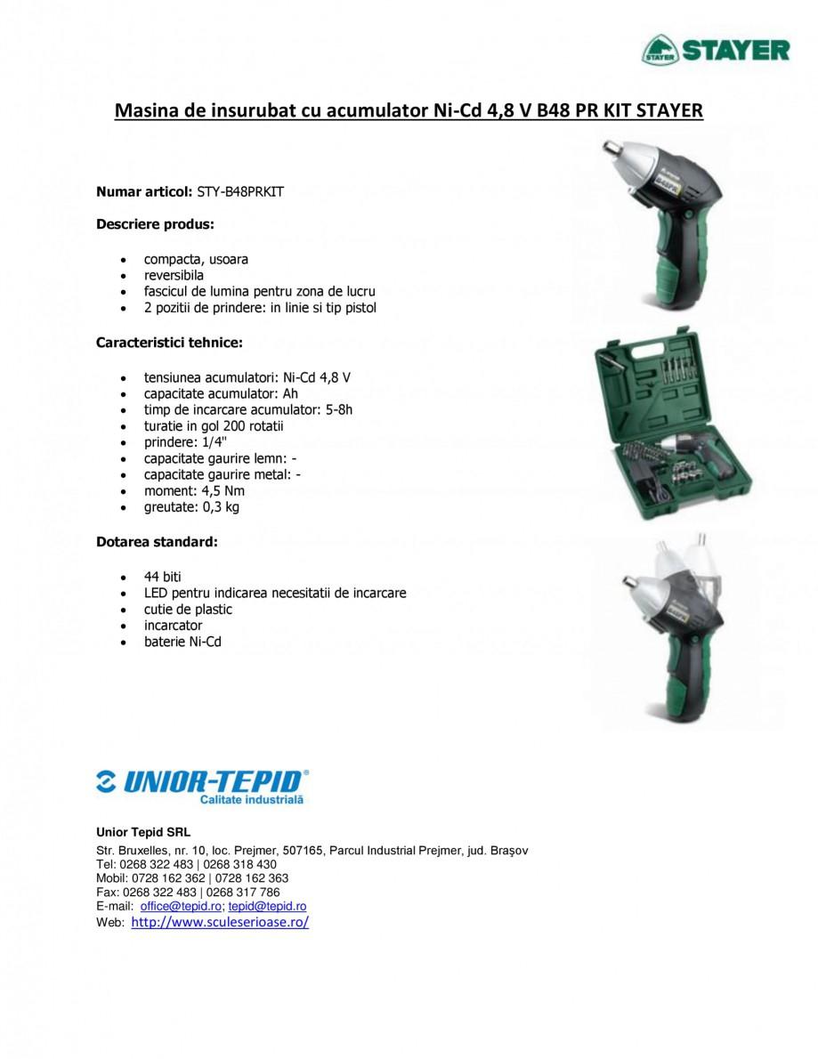 Pagina 1 - Masina de insurubat cu acumulator Ni-Cd 4.8 V STAYER B48 PR KIT Fisa tehnica Romana...