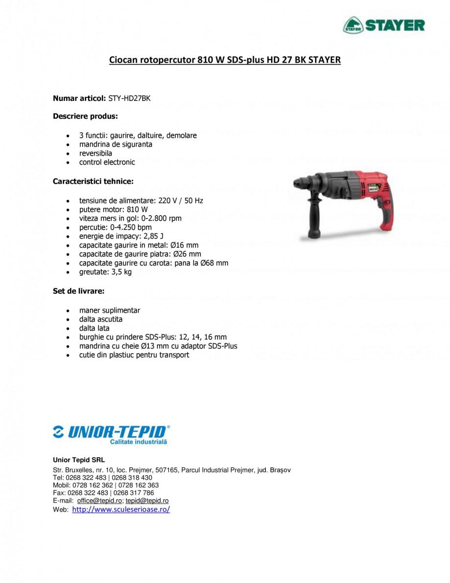 Pagina 1 - Ciocan rotopercutor 810 W STAYER SDS-plus HD 27BK Fisa tehnica Romana Ciocan rotopercutor...