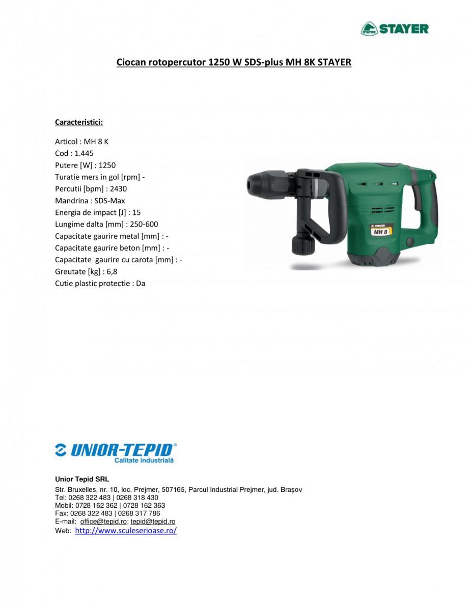 Pagina 1 - Ciocan rotopercutor 1250 W STAYER SDS-plus MH 8K Fisa tehnica Romana Ciocan rotopercutor ...