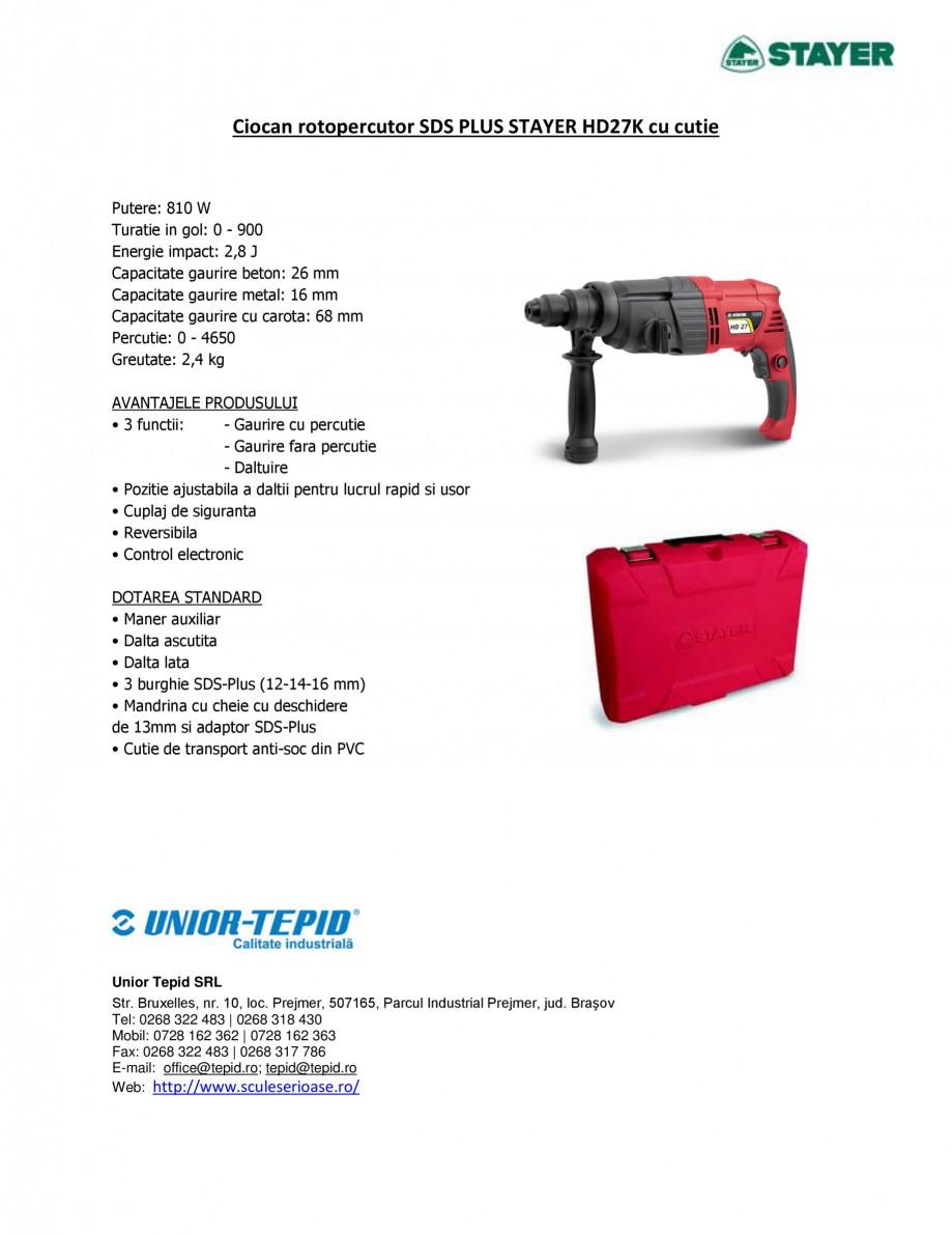Pagina 1 - Ciocan rotopercutor cu cutie STAYER SDS-plus HD 27K Fisa tehnica Romana Ciocan...
