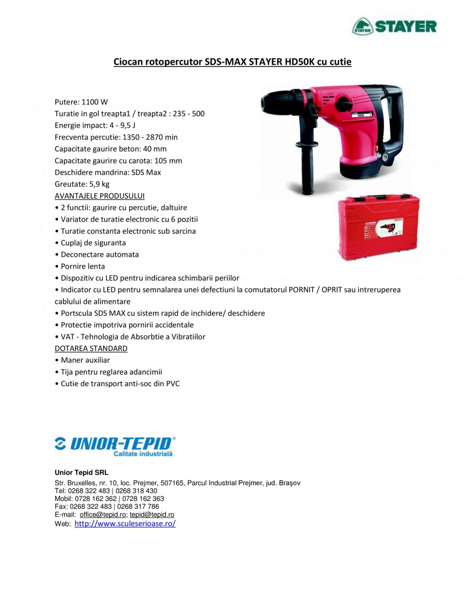 Pagina 1 - Ciocan rotopercutor cu cutie STAYER SDS-max HD 50K Fisa tehnica Romana Ciocan...
