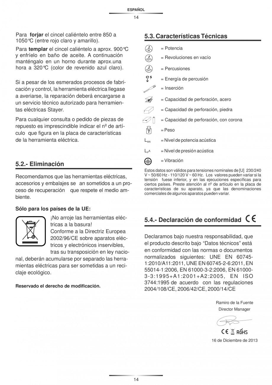 Pagina 14 - Ciocan rotopercutor 950 W STAYER SDS-plus HD 5K Instructiuni montaj, utilizare Engleza, ...