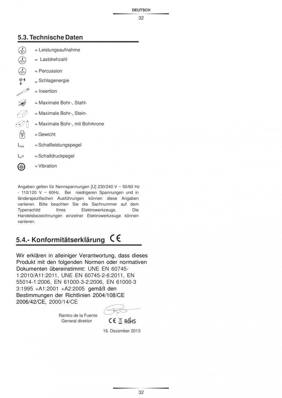 Pagina 32 - Ciocan rotopercutor 950 W STAYER SDS-plus HD 5K Instructiuni montaj, utilizare Engleza, ...