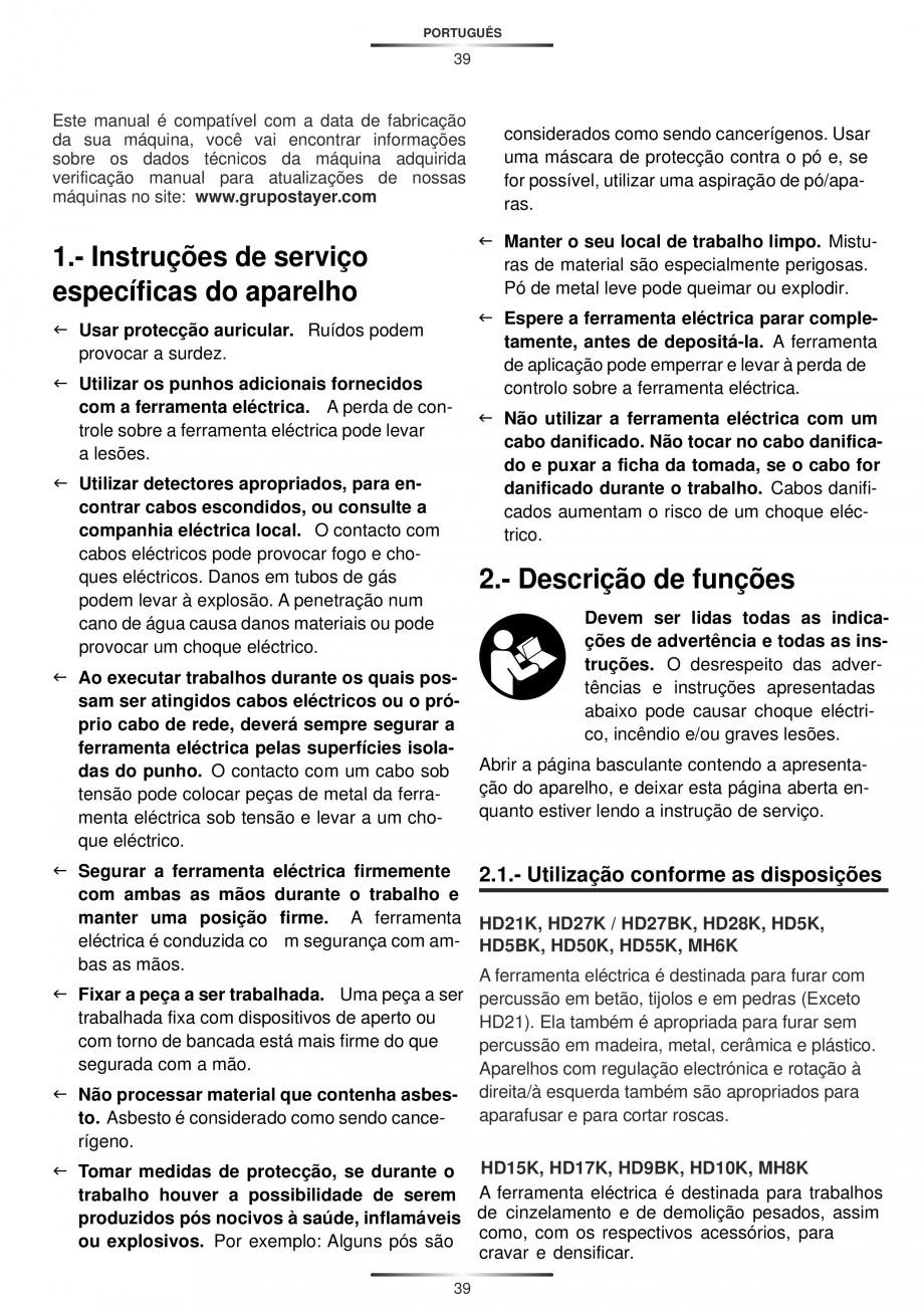 Pagina 39 - Ciocan rotopercutor 950 W STAYER SDS-plus HD 5K Instructiuni montaj, utilizare Engleza, ...