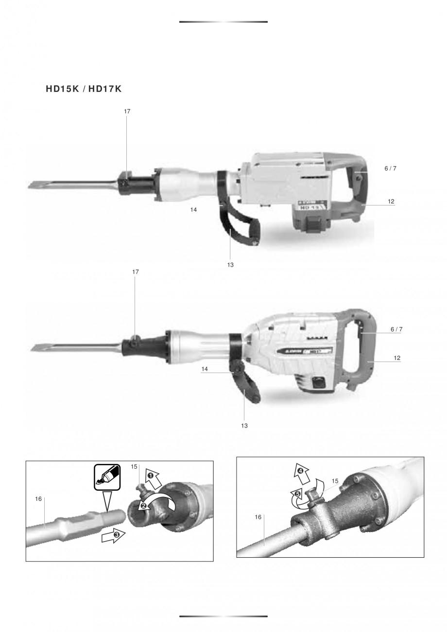 Pagina 6 - Ciocan rotopercutor 1200 W STAYER SDS-max HD 55K Instructiuni montaj, utilizare Engleza, ...