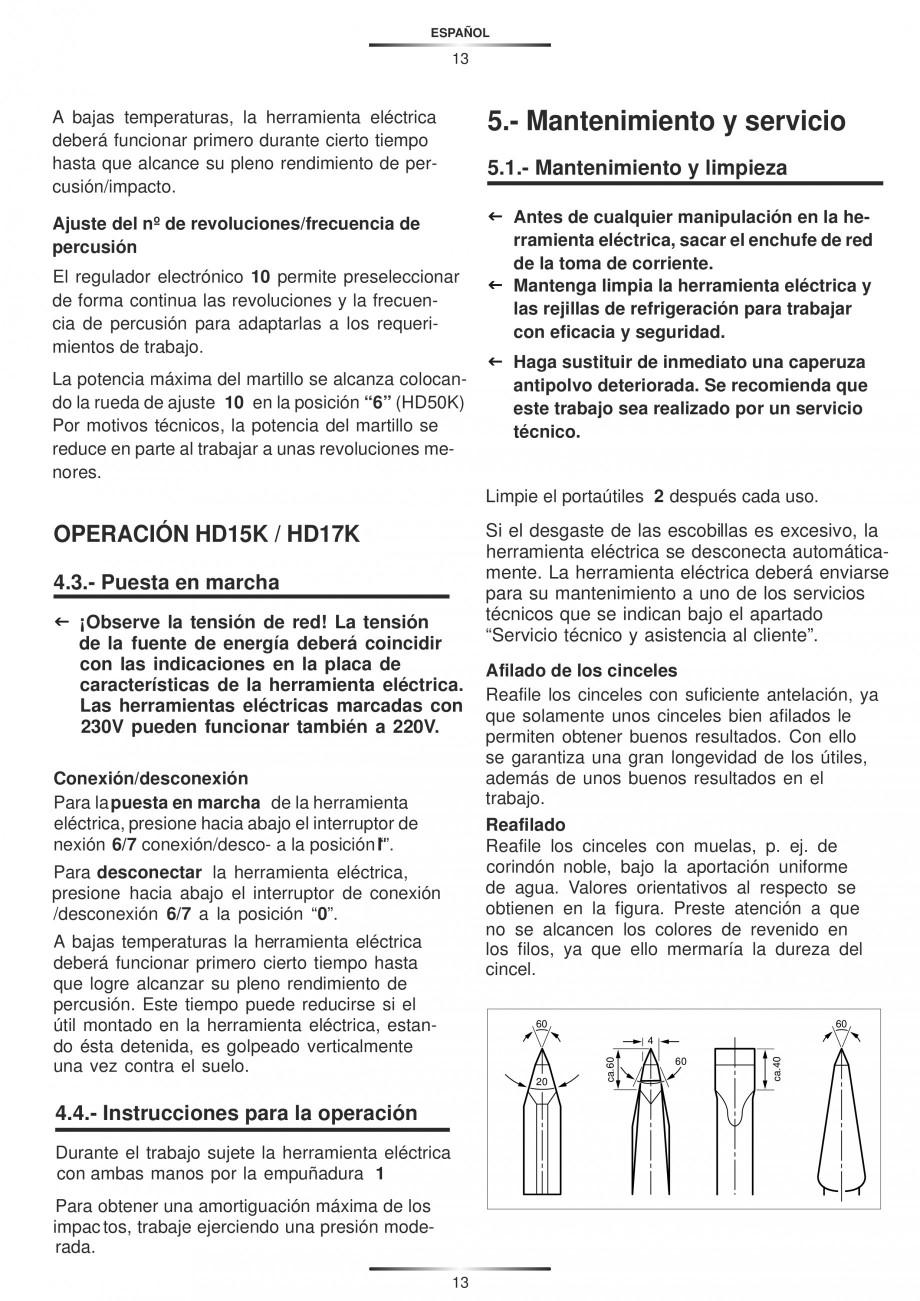 Pagina 13 - Ciocan rotopercutor 1200 W STAYER SDS-max HD 55K Instructiuni montaj, utilizare Engleza,...