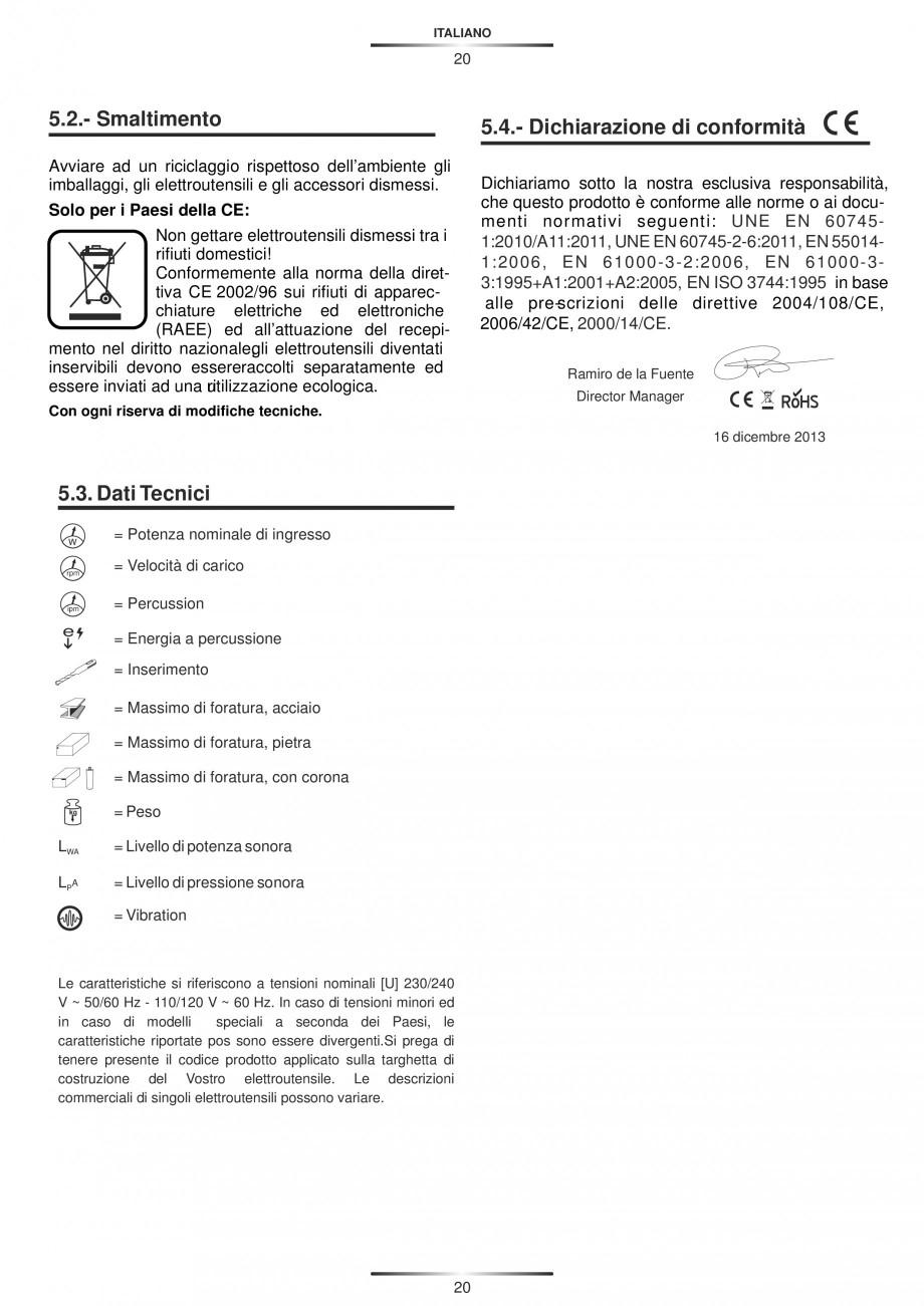 Pagina 20 - Ciocan rotopercutor 1200 W STAYER SDS-max HD 55K Instructiuni montaj, utilizare Engleza,...