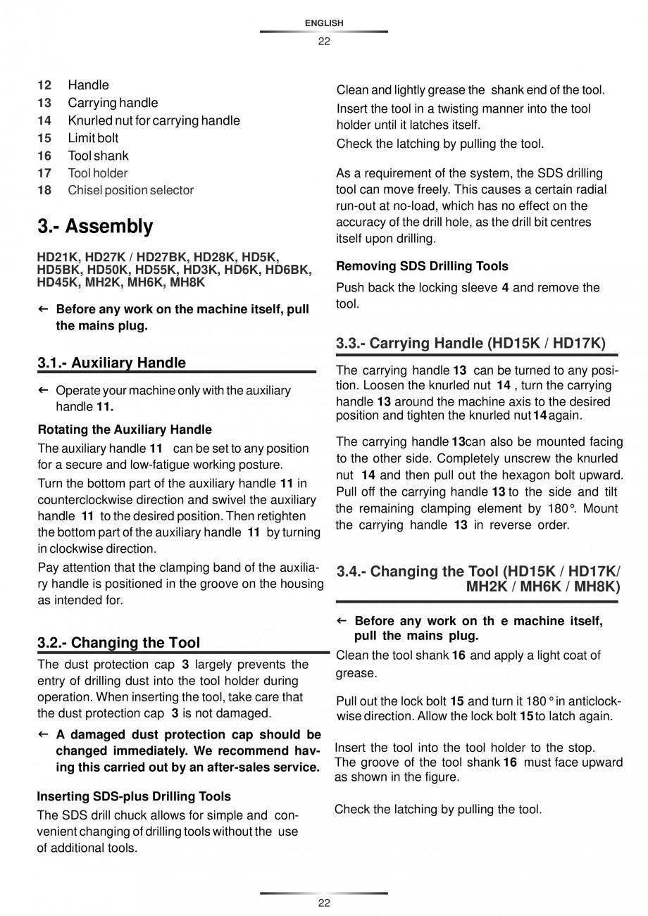 Pagina 22 - Ciocan rotopercutor 1200 W STAYER SDS-max HD 55K Instructiuni montaj, utilizare Engleza,...