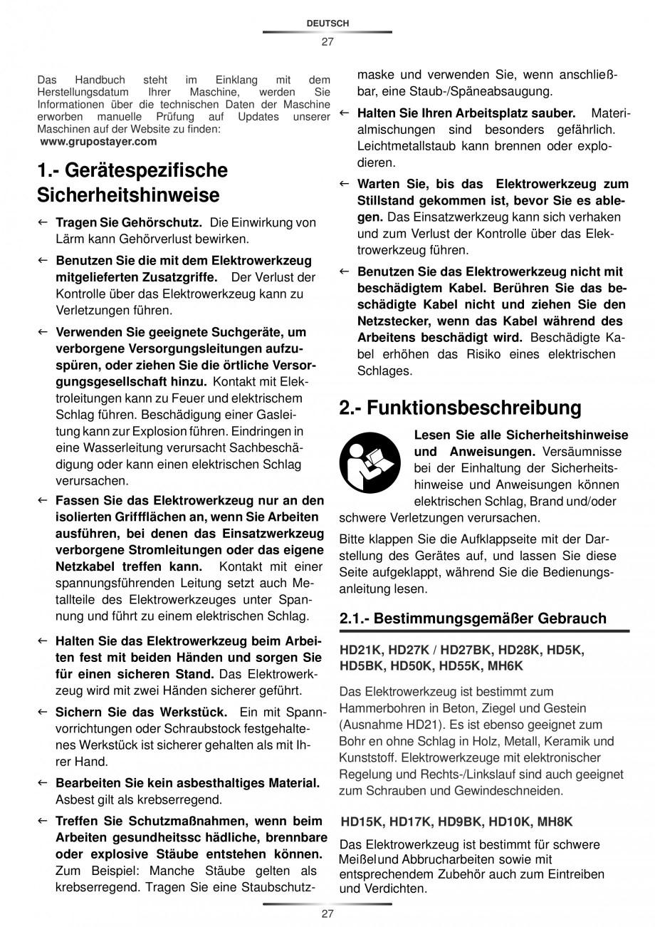 Pagina 27 - Ciocan rotopercutor 1200 W STAYER SDS-max HD 55K Instructiuni montaj, utilizare Engleza,...