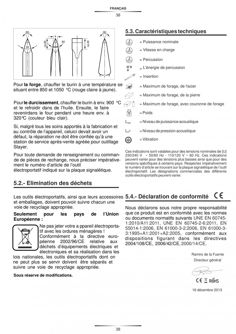 Pagina 38 - Ciocan rotopercutor 1200 W STAYER SDS-max HD 55K Instructiuni montaj, utilizare Engleza,...