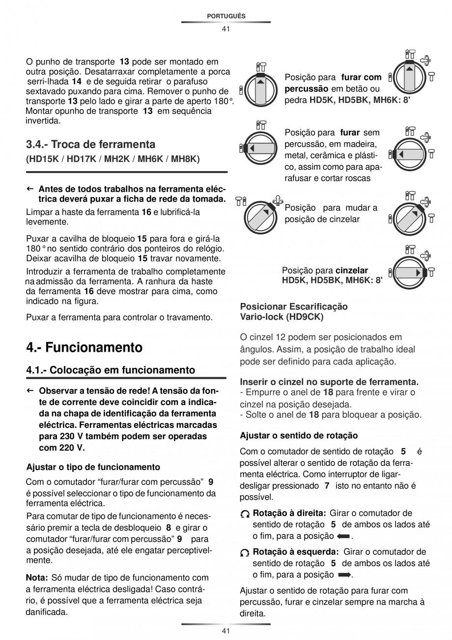 Pagina 41 - Ciocan rotopercutor 1200 W STAYER SDS-max HD 55K Instructiuni montaj, utilizare Engleza,...