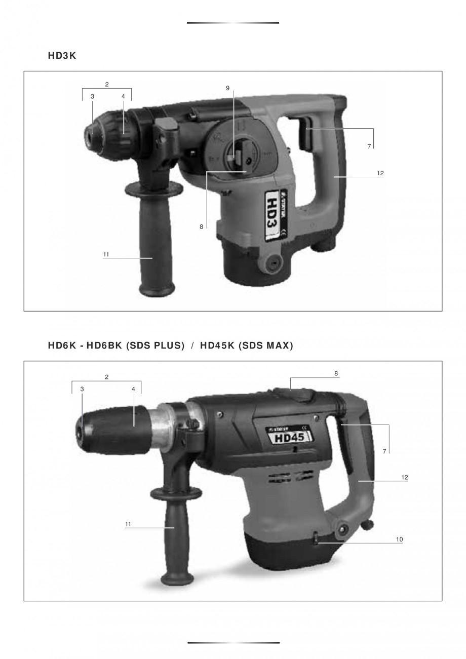Pagina 2 - Ciocan rotopercutor 1250 W STAYER SDS-plus MH 8K Instructiuni montaj, utilizare Engleza, ...