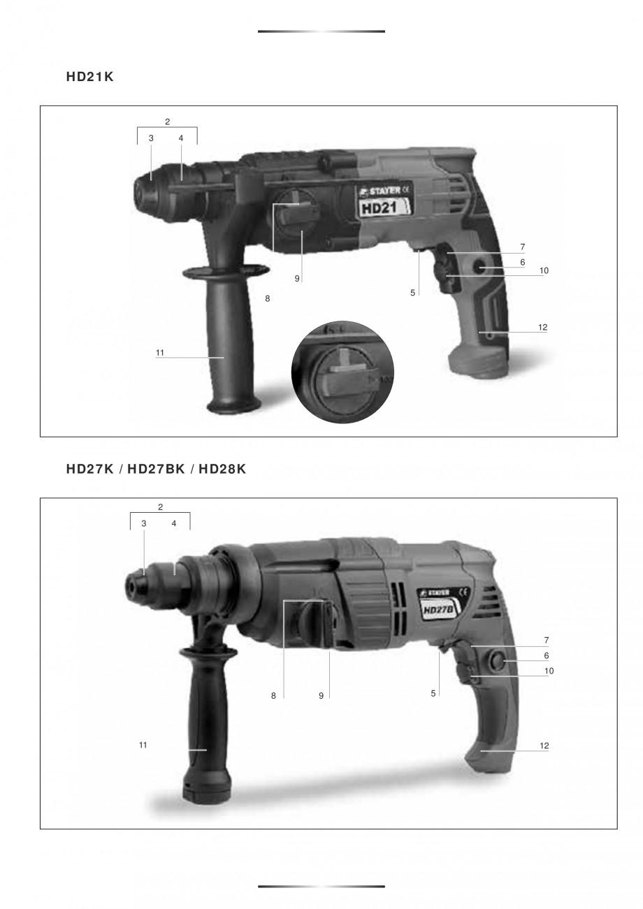 Pagina 3 - Ciocan rotopercutor 1250 W STAYER SDS-plus MH 8K Instructiuni montaj, utilizare Engleza, ...