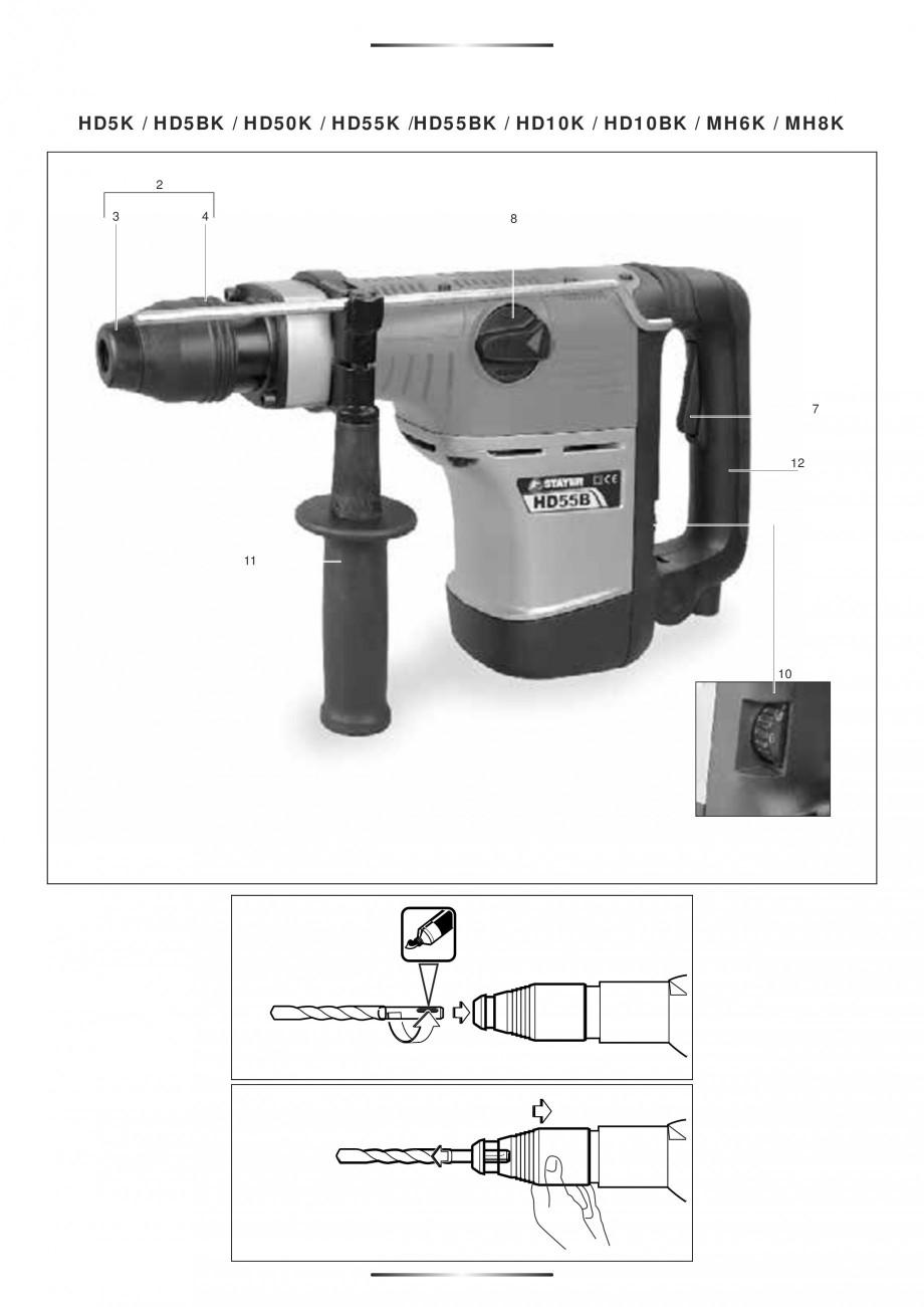 Pagina 5 - Ciocan rotopercutor 1250 W STAYER SDS-plus MH 8K Instructiuni montaj, utilizare Engleza, ...