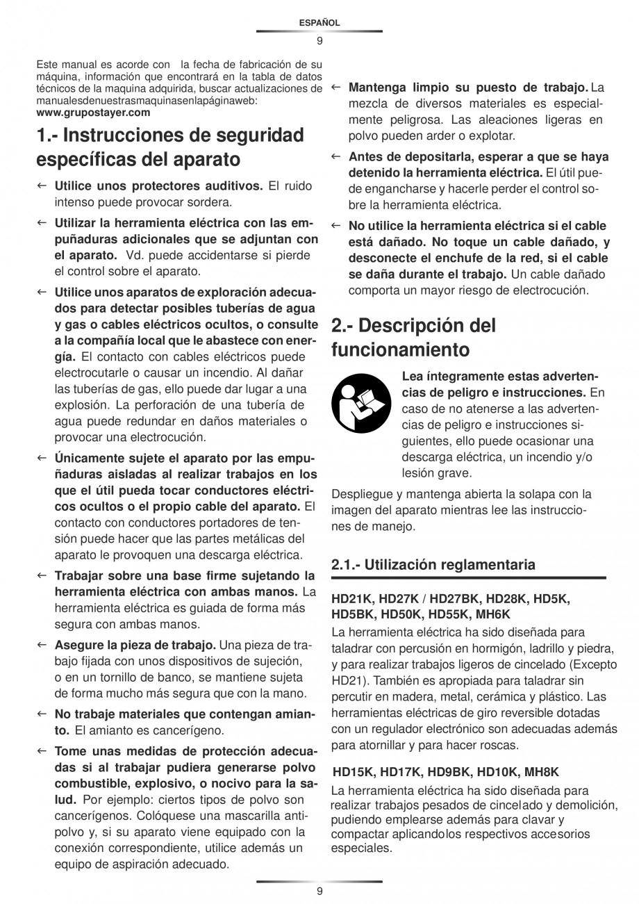 Pagina 9 - Ciocan rotopercutor 1250 W STAYER SDS-plus MH 8K Instructiuni montaj, utilizare Engleza, ...
