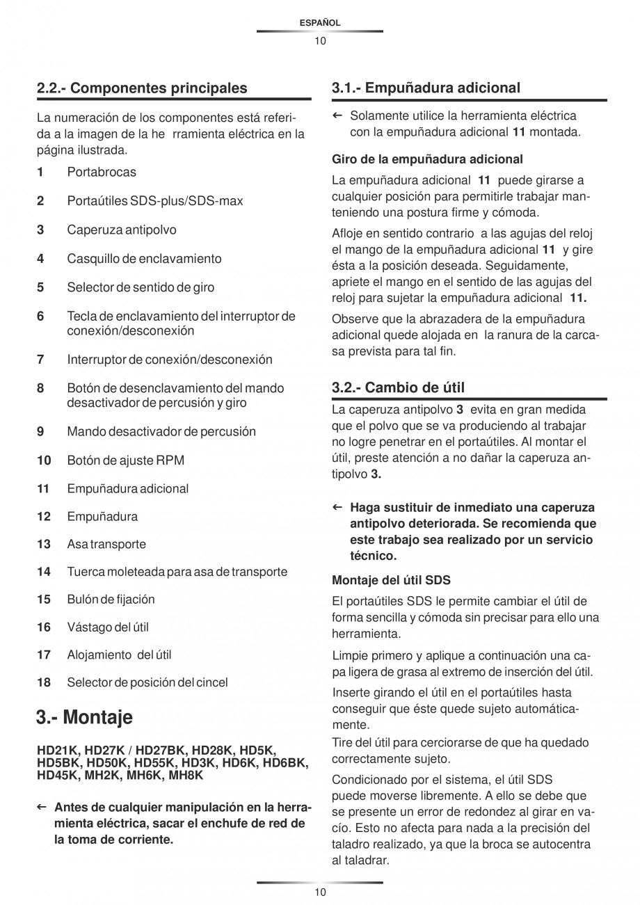 Pagina 10 - Ciocan rotopercutor 1250 W STAYER SDS-plus MH 8K Instructiuni montaj, utilizare Engleza,...
