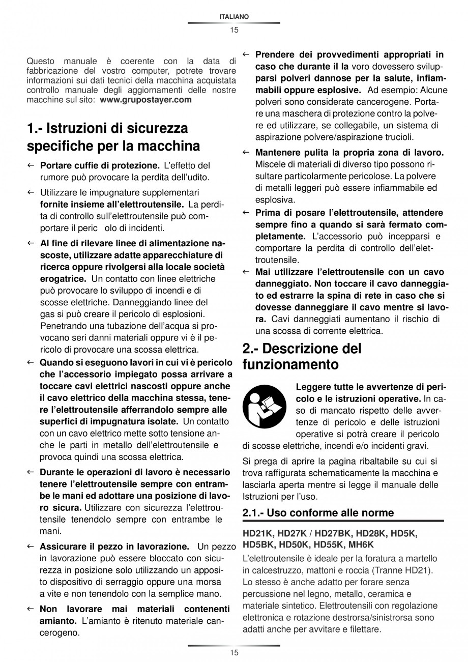 Pagina 15 - Ciocan rotopercutor 1250 W STAYER SDS-plus MH 8K Instructiuni montaj, utilizare Engleza,...