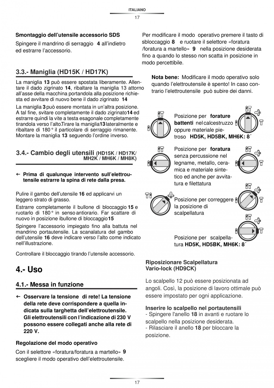 Pagina 17 - Ciocan rotopercutor 1250 W STAYER SDS-plus MH 8K Instructiuni montaj, utilizare Engleza,...