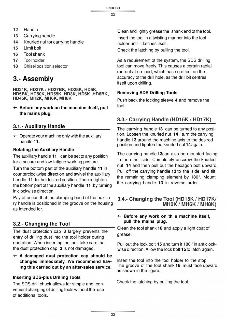 Pagina 22 - Ciocan rotopercutor 1250 W STAYER SDS-plus MH 8K Instructiuni montaj, utilizare Engleza,...