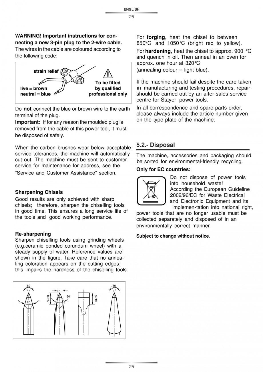 Pagina 25 - Ciocan rotopercutor 1250 W STAYER SDS-plus MH 8K Instructiuni montaj, utilizare Engleza,...