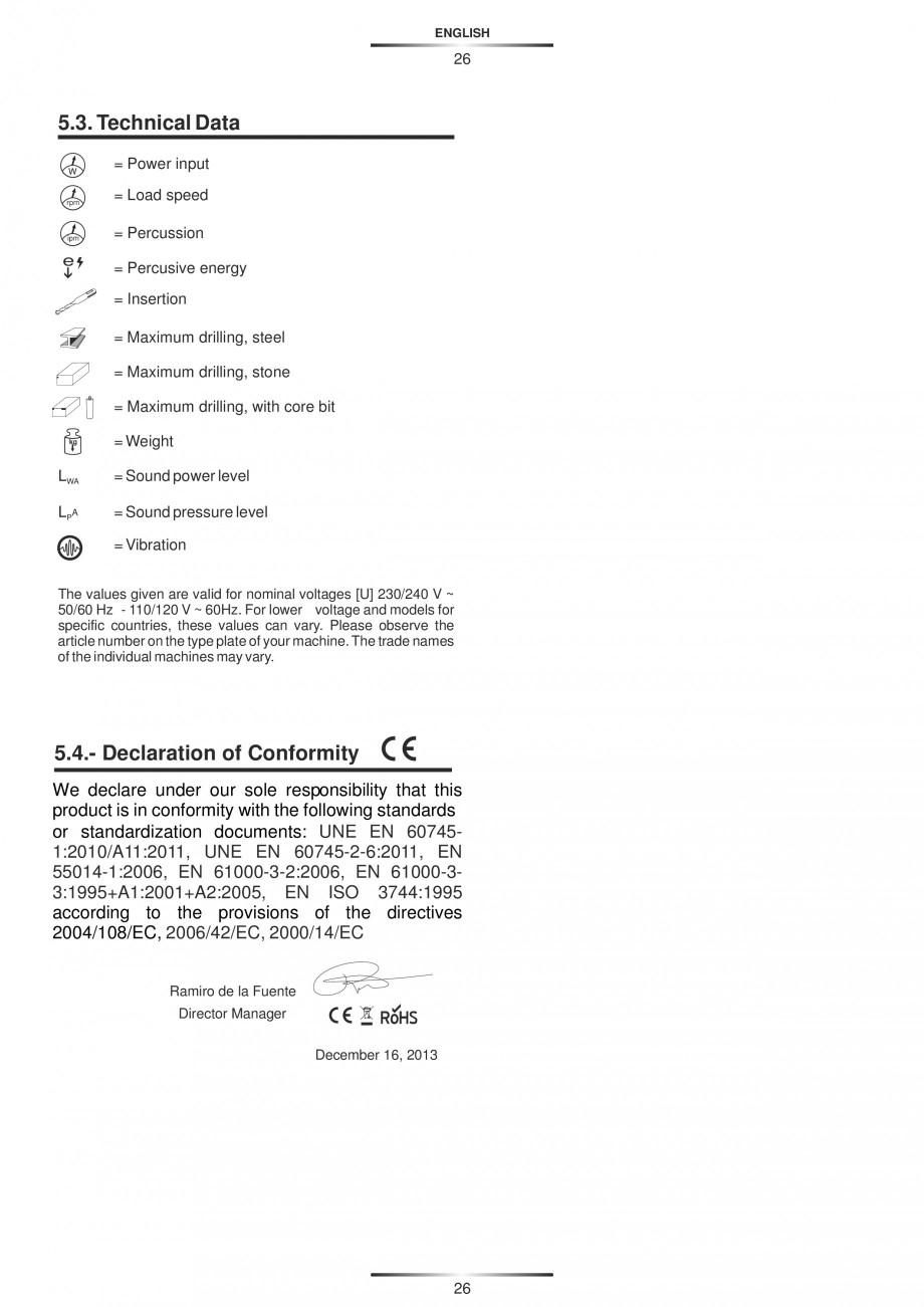 Pagina 26 - Ciocan rotopercutor 1250 W STAYER SDS-plus MH 8K Instructiuni montaj, utilizare Engleza,...