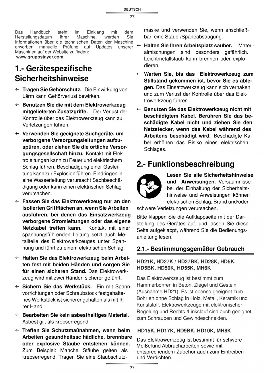 Pagina 27 - Ciocan rotopercutor 1250 W STAYER SDS-plus MH 8K Instructiuni montaj, utilizare Engleza,...