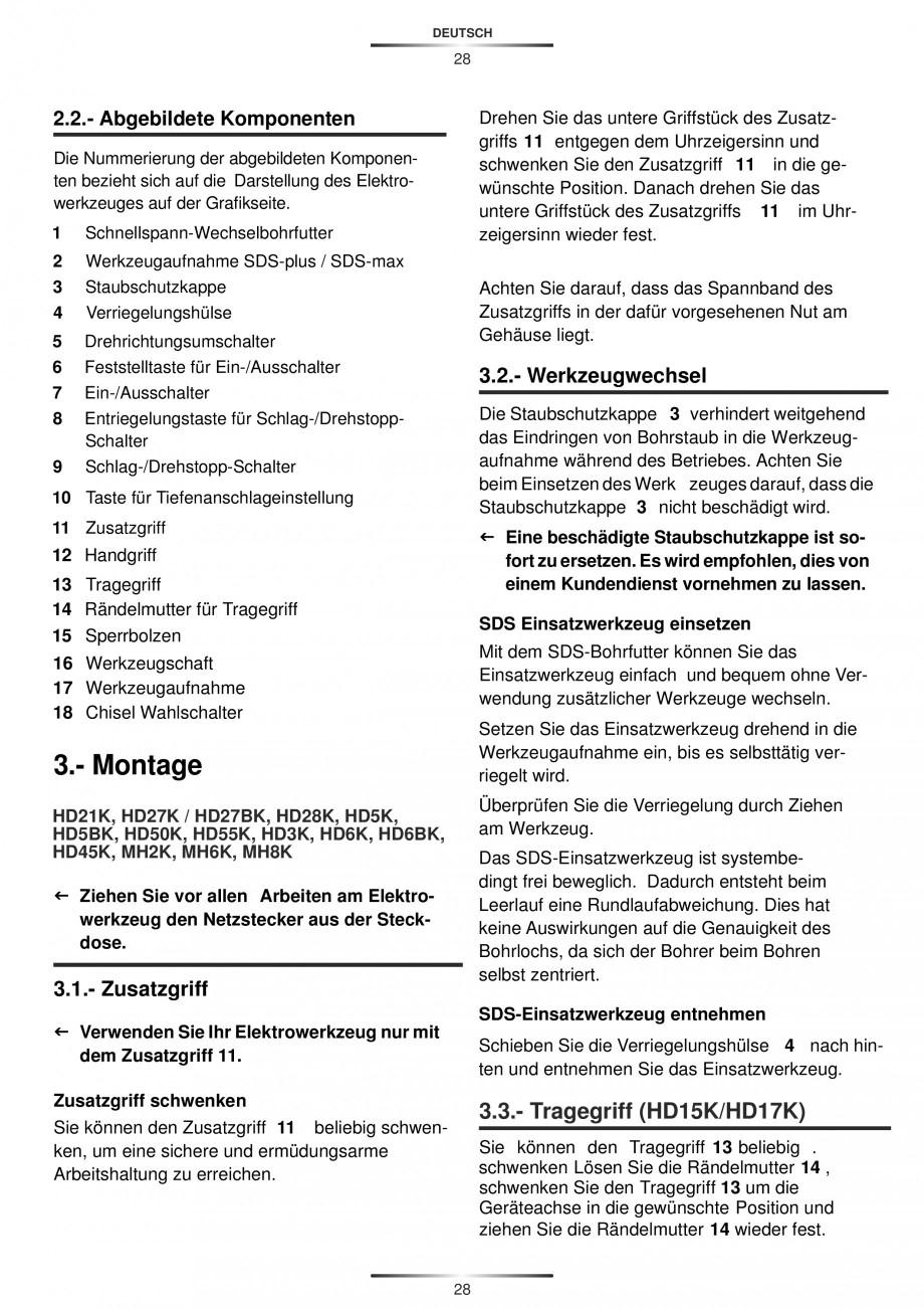 Pagina 28 - Ciocan rotopercutor 1250 W STAYER SDS-plus MH 8K Instructiuni montaj, utilizare Engleza,...